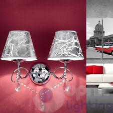 Applique lampada parete design moderno acciaio cromo cristallo paralumi argento