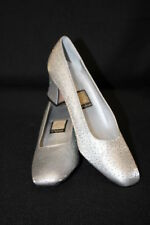 "NINA Silver Sparkle ""Confetti"" Heels Womens Size 7M Spain-B80"