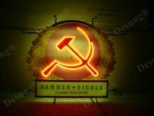 """New Hammer and Sickle Communist Neon Light Sign 24""""x20"""" Lamp Poster Real Glass"""