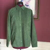 Karen Scott Faux Suede Green Long Sleeve Blouse Medium Shirt Excellent Condition