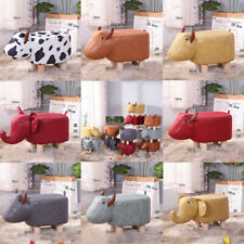 Cow Shaped Animal Storage Footstool Upholstered Ottoman Foot Rest Stool Pouffe