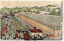 Uki-e Wakoku Keiseki Kyoto Sanjusangen-do no Zu-Toyoharu Utagawa. 11x17 Print