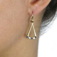 Estate Solid 18k Gold Sapphire & Diamond Dangling Triangle Earrings