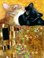 BCB Orange Tabby Black Cat The Kiss Klimt Print of Painting ACEO 2.5 x 3.5 Inch