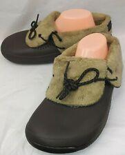 Crocs Lined Waterproof Washable Croslite Womens 9 Brown Faux fur Lined