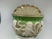Vintage Green and Gold Ceramic wall hanging planter cherubs angels sweet!