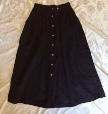 Black Corduroy Skirt vintage modest long button up with pockets size 8