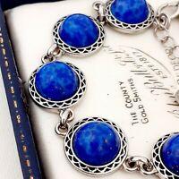 Stunning Vintage 1950s Lapis Lazuli Blue Glass Cabochon Bracelet