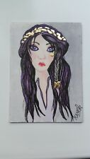 ACEO Original Watercolour/inks&24ct Gold Leaf 'Pippa' Beautiful lady Fine Art