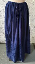 NEW ZARA NAVY BLUE BOHO EMBROIDERED FULL LENGTH MAXI SKIRT MEDIUM 10/12/14  Z277