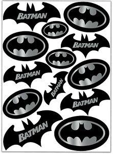 Satz 13 Aufkleber Batman Logo Motorrad Fahrrad Autoaufkleber Fledermaus Silber