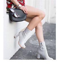 LF Matisse Women's Gray Velvet Graffiti Block heel bootie sz 7.5