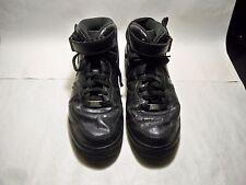 17ec91c3ed1019 NIKE Air Force 1 AF1 Black Leather Basketball Shoes 315123-001 Boys Size 10  M