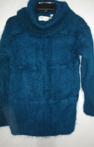 Chelsea Young Womens Blue Green Turtleneck Long Sleeve Pullover Sweater Size M