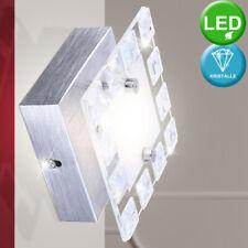 LED Wand Leuchte Alu Glas Strahler satiniert Kristall Ess Zimmer Lampe silber