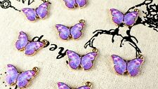 Butterfly Breloques 3 Purple Gold and Enamel HOMOLOGUE Charm Jewellery Supplies c266