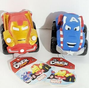 Lot of 2 New Marvel Lil Chuck & Friends Toy Cars Iron Man and Captain America z