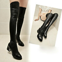 Leather Women Over The Knee Thigh High Stiletto Heel Ladies Stretch Calf Boots