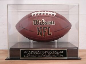 Philadelphia Eagles Football Display Case With A Super Bowl LII Nameplate