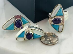 HSN SS  Multi Gemstone/Turquoise/MOP/Amethyst  Earrings and Ring SZ 9