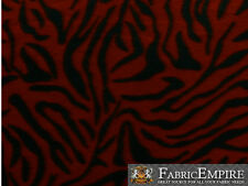 Polar Fleece Fabric Print BLACK ZEBRA DARK RED BACKGROUND  Sold By The Yard