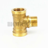 """2pcs 1/2"""" BSP Male x Female x Female Tee 3 Way Brass Pipe Fitting Connector"""