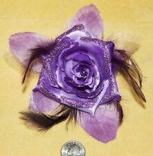 Purp Flower Glitter Hippie Boho Feather Tribal Belly Dance Dancing Hair Clip Pin