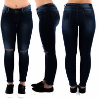 Womens Ladies BLUE Slim Fit Skinny Denim Rip Knee Mid Rise Jeans Size 6 - 14