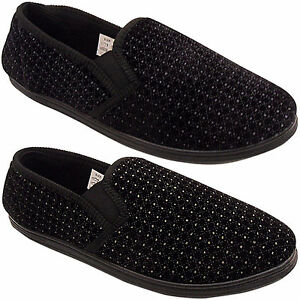 NEW MENS GENTS VELOUR HARD SOLE COMFORT VELOUR GUSSET SLIPPERS SHOES SIZE 6 / 14