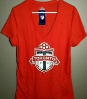 New Toronto FC V-Neck T-Shirt Women's Size Large Canada Soccer Tee Shirt Red