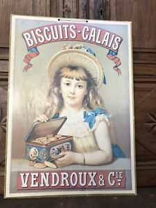 Publicite Affiche Ancienne sur Carton VENDROUX CALAIS