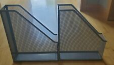 2 ~ Mesh Silver Magazine File Holder Hanging Stand Alone Excellent