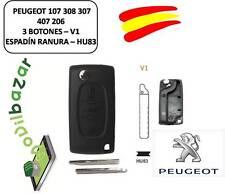 LLAVE CARCASA PEUGEOT 107 308 307 407 206 207 V1 HU83 - 3 BOTONES ESPADIN RANURA