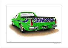 HOLDEN HX HZ SANDMAN UTE   LIMITED EDITION CAR DRAWING PRINT  ( 6 CAR COLOURS)