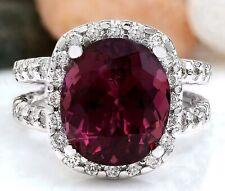 10.10 Carat Natural Tourmaline 18K Solid White Gold Diamond Luxury Ring