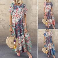 ZANZEA 8-24 Women Short Sleeve T-Shirt Dress Long Maxi Sundress Floral Dress