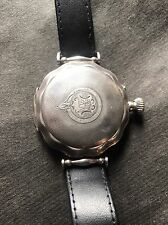 Antique 1890s HEBDOMAS 8 Days Silver Scallop Shape Hunting Case Wristwatch
