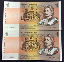 1979 $1 Aust Banknotes knight/Stone R77  UNC Consec Pair CYF 154780/81
