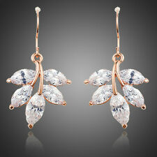 New Sparkle Shiny Clear White Zircon Stone Flower Party Women Wedding Earrings