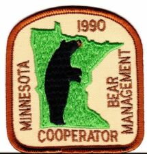 1990 Minnesota Bear Management Cooperator Patch New Never Used Mint
