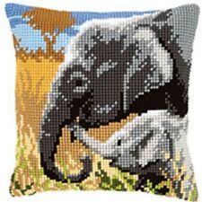 éléphants - Grand perforé Coussin Tapisserie Kit/imprimé Chunky Point De Croix