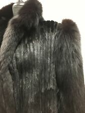 BEAUTIFUL vtg BLACK MINK & FOX genuine fur FULL length COAT JACKET winter