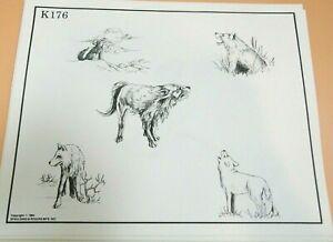 Vintage 1984 RARE Spaulding & Rogers Tattoo Flash Sheet K176 Wolves Wolfpack
