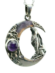 """Moon Gazing Hare Amethyst 925 Sterling Silver 18"""" Chain Boxed Pagan Wiccan Witch"""