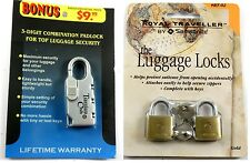 Royal Traveller Samsonite Travelers Club Luggage Lock Combination Lot of 3 New