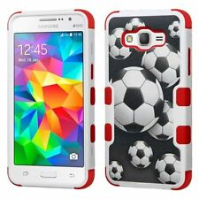 For Samsung Galaxy Grand Prime Black Soccer Ball Collage Hard Hybrid Case Cover