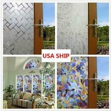 US Ship Window Film Floral Privacy Static Cling Glass Door Sticker Home Decor