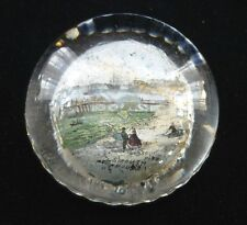 VICTORIAN GLASS SCENIC PAPERWEIGHT  OF PORTSMOUTH HARBOUR AND SOUTH PIER