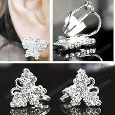 CLIP ON crystal PIXEL BUTTERFLY EARRINGS silver rhinestone SMALL STUDS CLIPS
