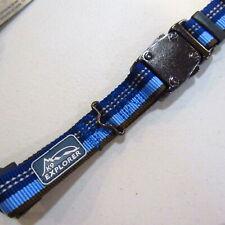 """S/M Adjustable Reflective K9 Explorer Dog Collar 12"""" 18"""" 1"""" Wide Blue NOS"""